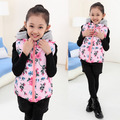 Children Kid Girl Floral Hooded Vest Jacket Zipper Coat Outwear Waistcoat