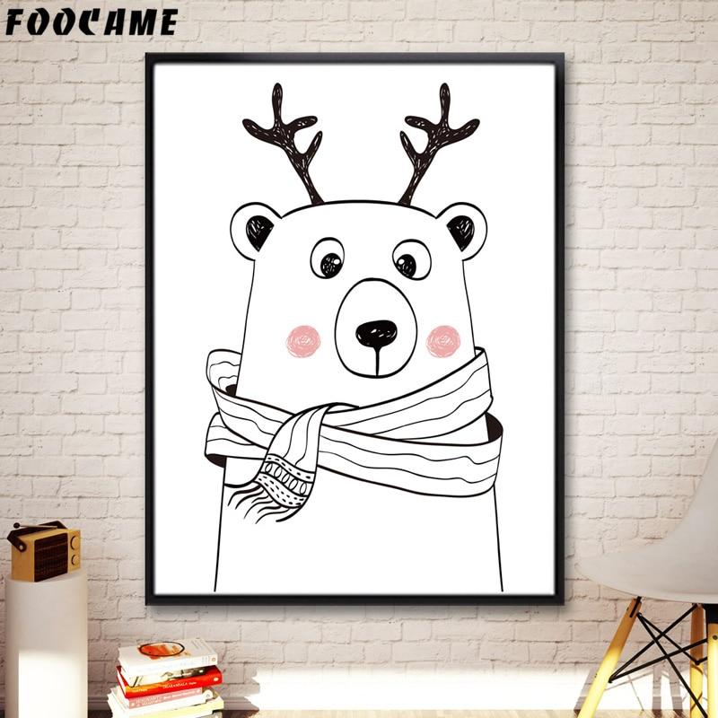 FOOCAME Cartoon Animal Bear Gewei Posters en prints Art Canvas - Huisdecoratie - Foto 4