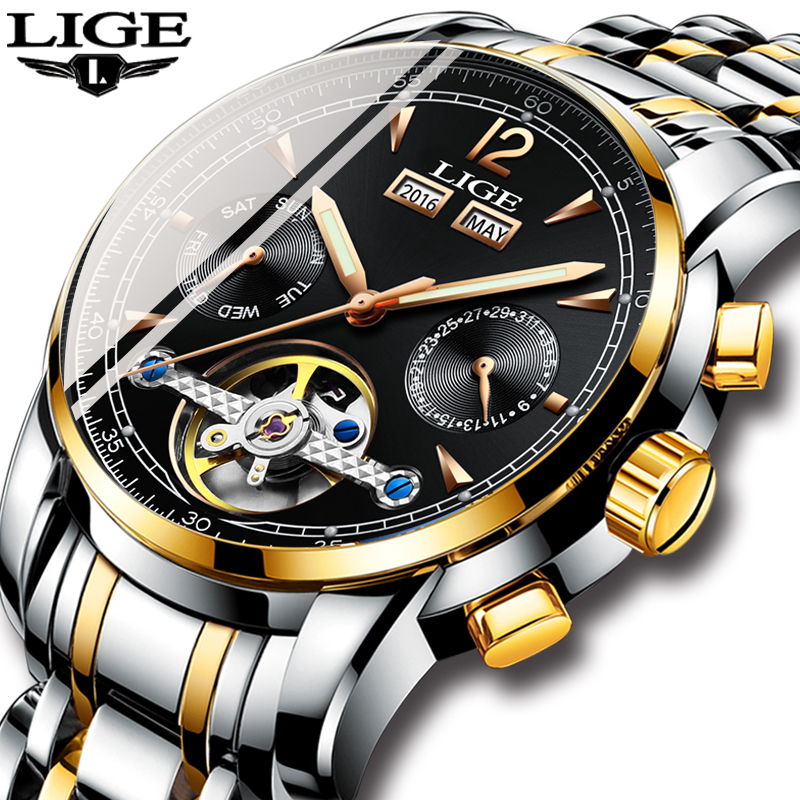 LIGE Men Watch Fashion Automatic Mechanical Watch Casual Sport Tourbillon Stainless Steel Waterproof Watches Relogio Masculino