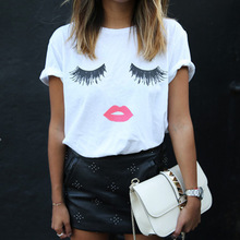 Women T shirt Eyelash & Red Lip Design