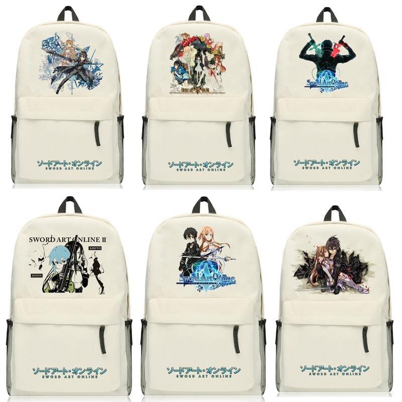 High-Q Unisex Anime Sword Art Online Backpacks SAO Kirigaya Kazuto Kirito Asuna Preppy Student Casual Backpacks Luggage Bags