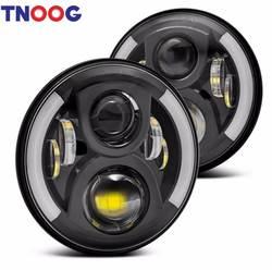 Tnoog 7 ''круглый Габаритные огни 50 Вт H4 высокий низкий пучок стайлинга автомобилей светодиодные в горошек E9 для Jeep лада Нива 4x4 Urban
