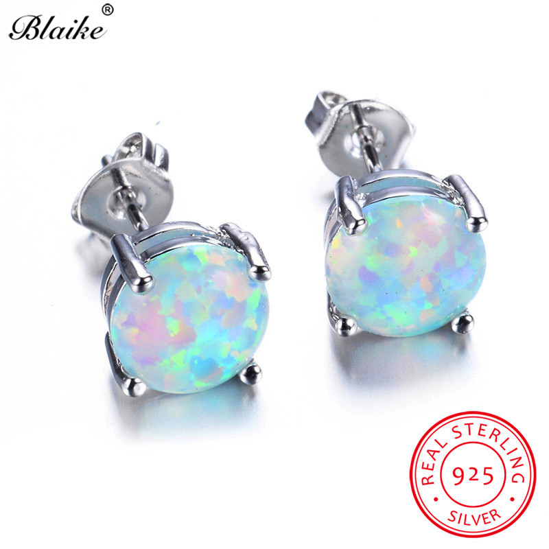 Blaike 100% 925 Sterling Silver White Fire Opal Stud Earrings For Women Fine Jewelry 8MM Round Stone Studs Birthstone Earrings