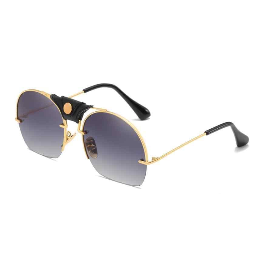 6103f82129 Moda mujer hombres Metal marco sombras gafas de sol integrado UV gafas  accesorios gafas para niña