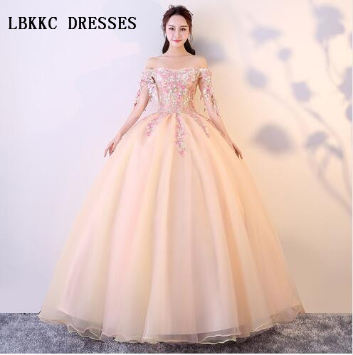 f515767fd23 Peach Champagne Quinceanera Dresses Tulle Lace Sweetheart Ball Gown  Vestidos De 15 Anos Prom Gown