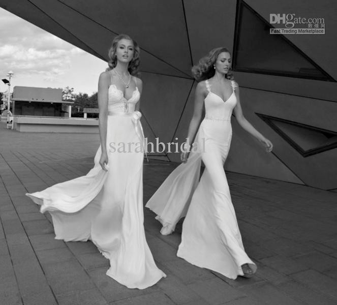 Romantic Real New Arrival 2019 Beach sheer Elegant With A Line white chiffon Lace Long Backless Bridal Gowns   bridesmaid     dresses