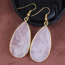 XSM 18K Gold Plated Natural Rose Quartz Water Drop Dangle Earrings For Women Trends Jewelry