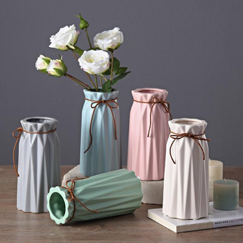 Modern Matt Ceramic Vase Home Decor Porcelain Glazed Hemp Rope Flower Vases Wedding Decoration 5 Colors