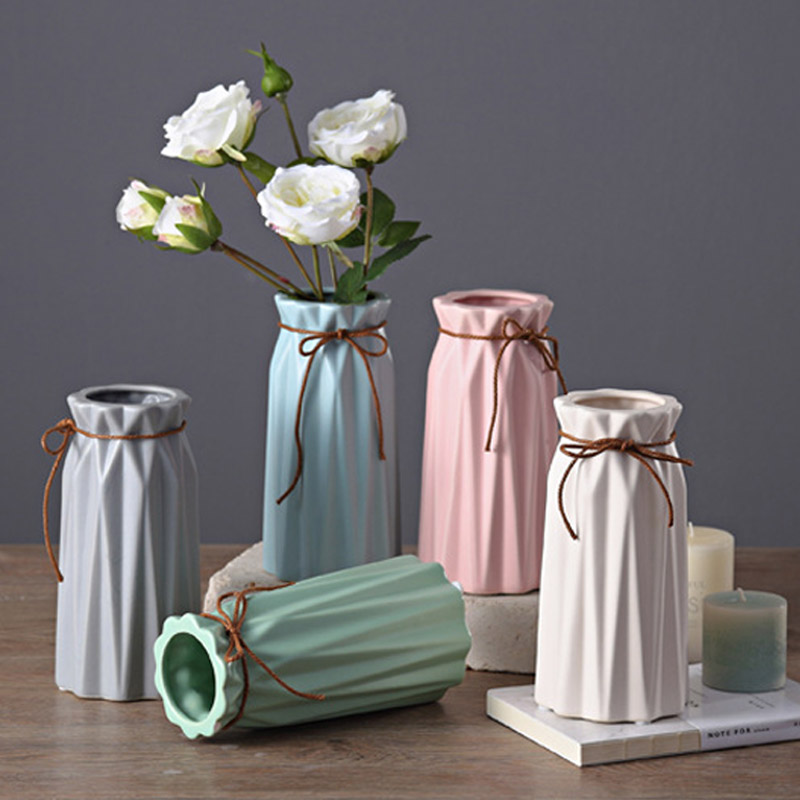 Modern Matt Ceramic Vase Home Decor Porcelain Glazed Hemp Rope Flower Vases Wedding Decoration 5 Colors ...