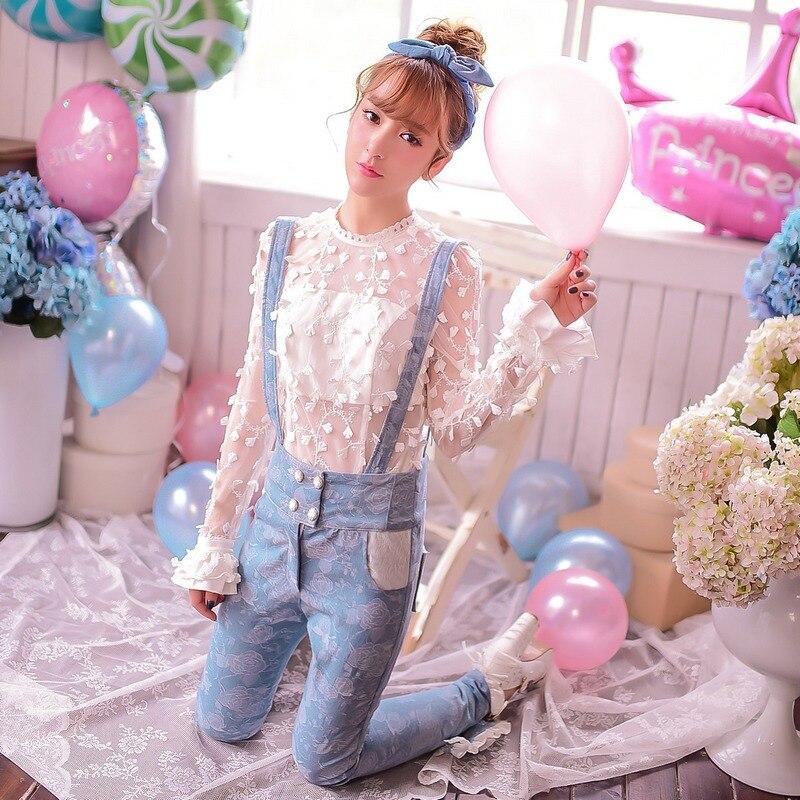 Princesse douce lolita chemise bonbons pluie évider fleurs transparent papillon manches longues automne dentelle chemise C15CD5851
