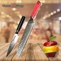 Набор ножей из 2 частей шеф-повара Многофункциональный кухонный нож японский кирицукэ Дамаск vg10 Мясник из нержавеющей стали инструменты G10 ...