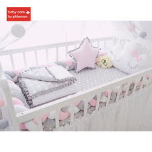 Babycare Baby Bed Crib Bumper Nodic Knot Handmade Braid Weaving Knot Pillow For Newborn In The Crib Protector Infant Room Decor