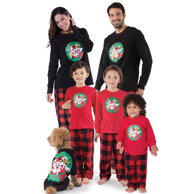 5130cd6084 Family Matching Christmas Pajamas Set Women Mom Dad Baby Kids Sleepwear  Nightwear Plaid Pants Pajamas Suit