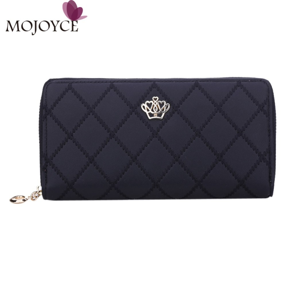 Women Wallet Clutch Bag Vintage Crown Embellishment Plaid Wallets Girls ID Card Holder Purse Phone Case Money Bag Femininas 2018 anime fairy tail wallet cosplay school students money bag children card holder case portefeuille homme purse wallets