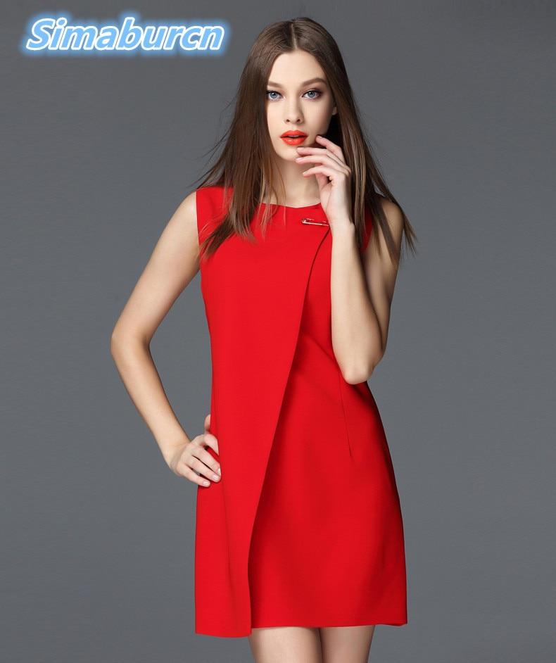 Estilo europeo de la moda Verano Mujeres Vestido negro rojo Vestidos - Ropa de mujer