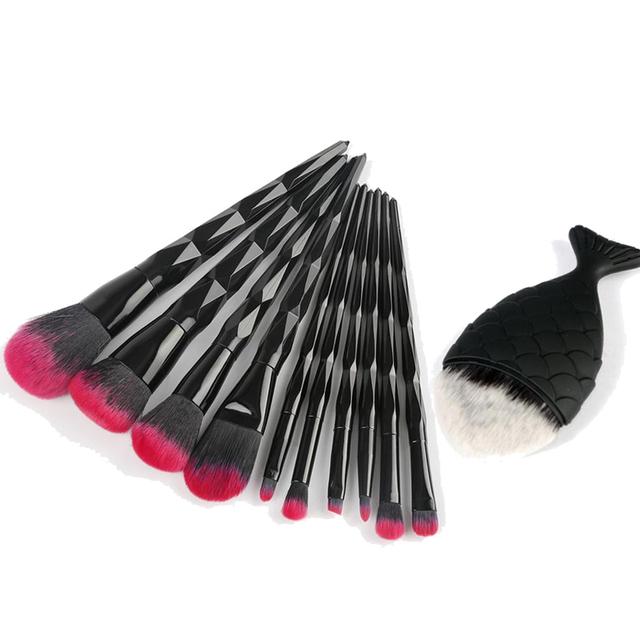 10/11Pcs Black Diamond Makeup Brushes Sets Kits Professional Eye Make Up Eyeliner Brush Set Rose Gold Makeup Brushes