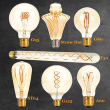 New Unique Retro Spiral Filament LED Bulb 220V G125 G95 G80 A60 T30 Edison Globe Lamp 2200K Warm Yellow For Home Bar Shop(China)