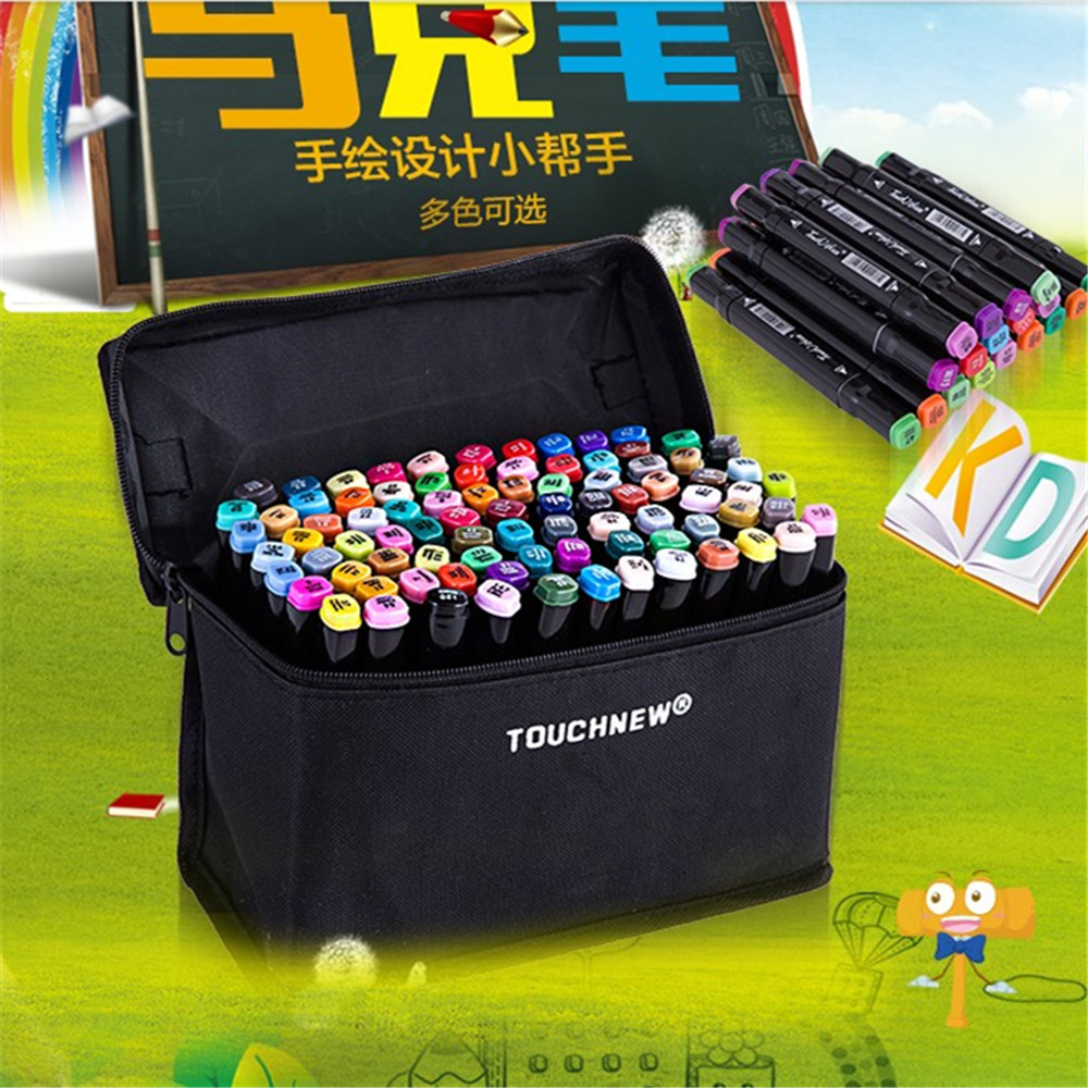 TouchNew three 80 Color Painting Art Mark Pen Alcohol Oliy Marker Pen  Double Headed Art Copic Markers Designers manga design 24 color three generations oily alcoholic paint mark pen permanent marker sketch double headed copic markers