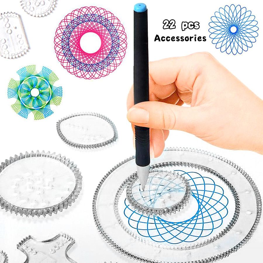 22pcs Spirograph Drawing Toys Set Interlocking Gears & Wheels Geometric Ruler Drawing Accessories Creative Educational Kids Toy