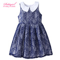 Fashionable Dresses Retail Puff Sleeve Kids Lace Dress Navy Blue Bbay Girl Clothes