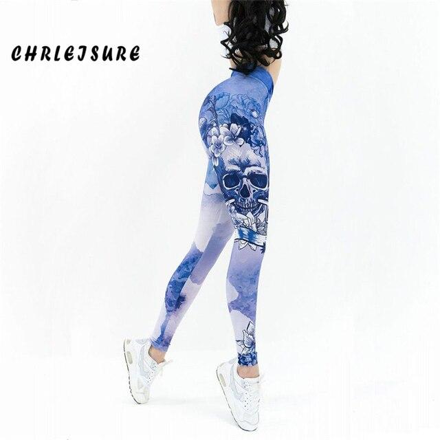 CHRLEISURE Leggings For Women Fashion Trend Blue Skull Printed Leggings Polyester Hips High Waist Breathable Fitness Leg Pants