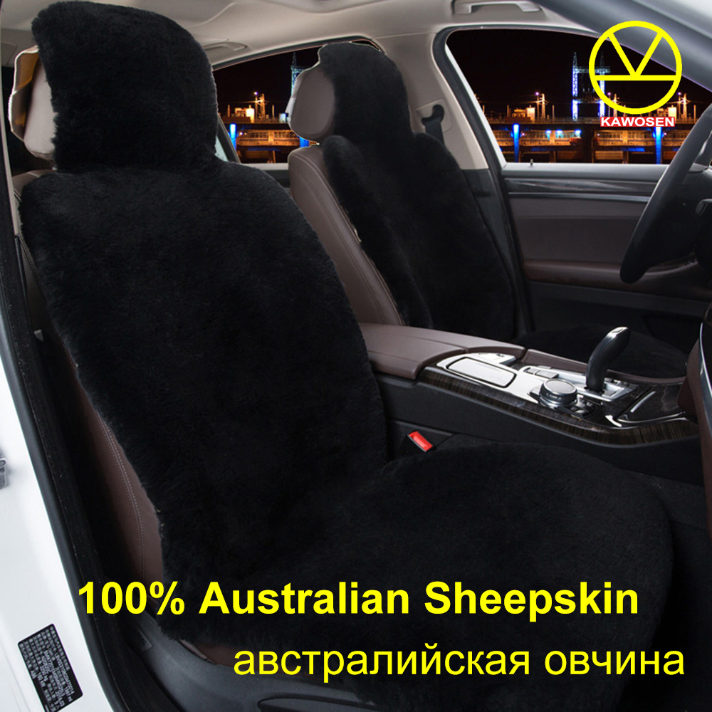 KAWOSEN Australian Sheepskin Fur Seat Cover,Super Warm Universal Car Seat Cover, 100% Wool Car Seat Covers Auto Cushion WSCP kawosen 2 pcs 100% australian pure natural fur seat cover sheepskin winter car seat cover wool seat warm car seat covers lwsc02