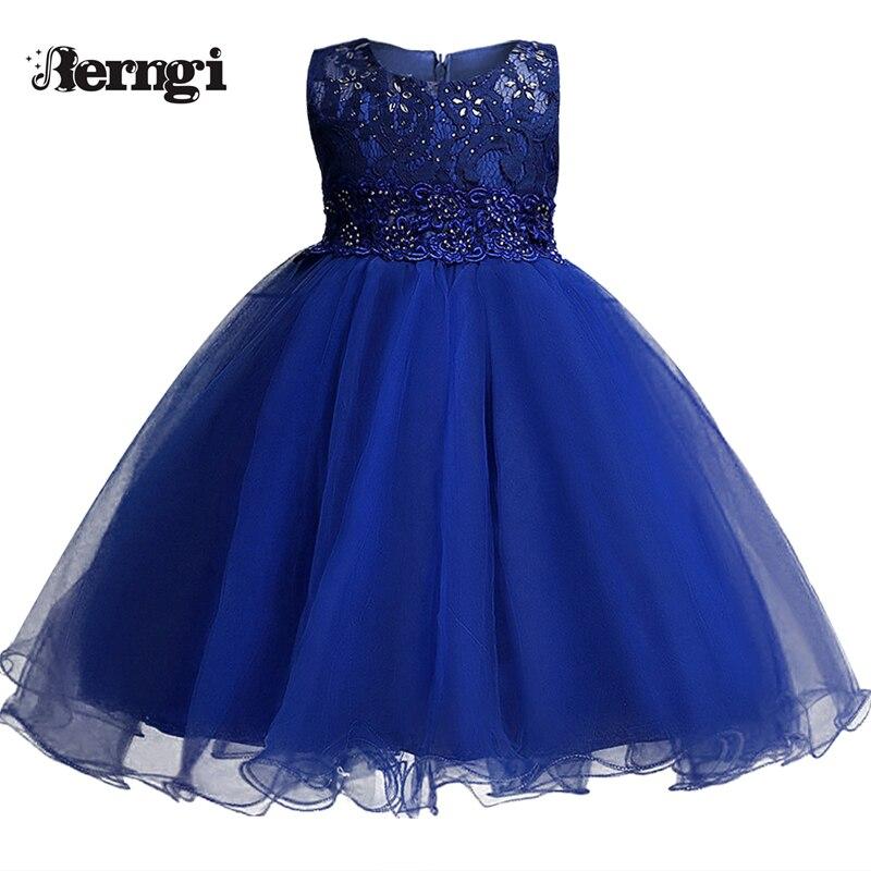 Berngi New Design Girl Dresses Kids Princess Party Wedding Clothes for Girls Ceremonies Children Sleeveless Flower Kids Costumes