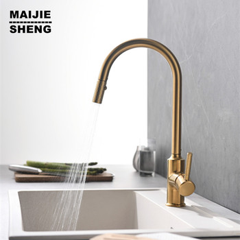 Brush gold kitchen faucet 360 ronating gold kitchen sink tap cold and hot kitchen mixer tap gold brush kitchen mixer