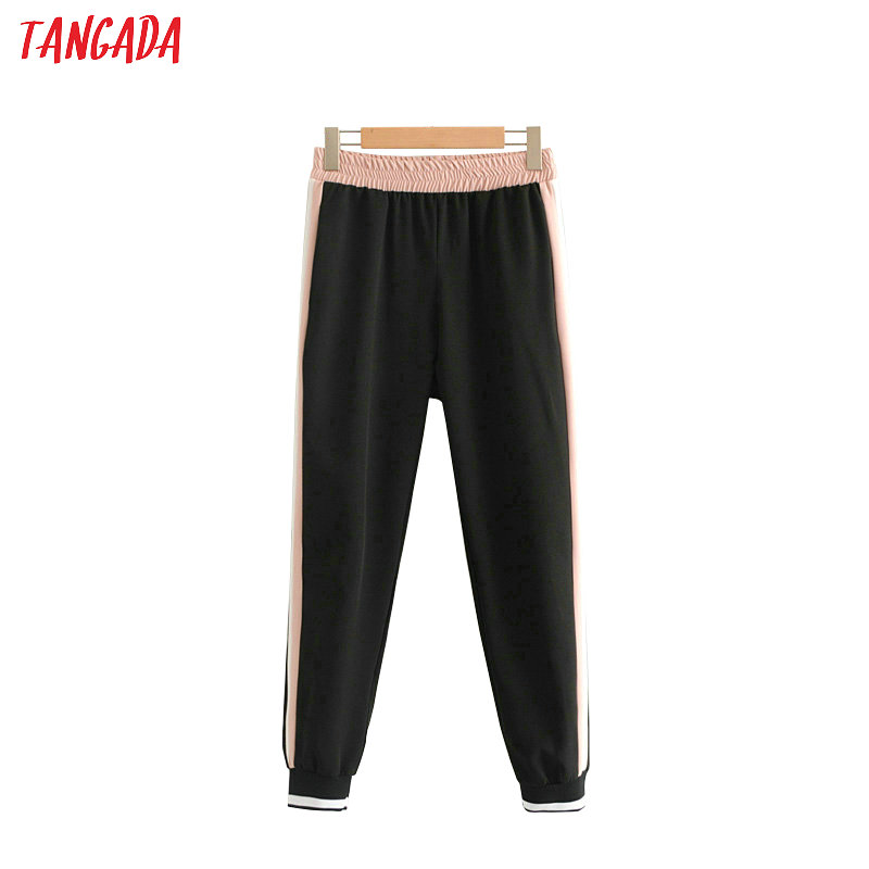 Tangada Women Autumn Sweatpants Pants Street Patchwork Ladies Pantaloons 2019 Elastic Waist Side Stripe Trousers HY141