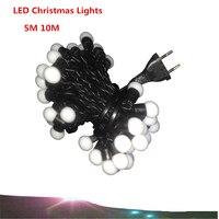 LED luci Di palla di Natale 5 M/50 LEDs 10 M/100 led LED luci della stringa di illuminazione di Festa 7 colori Di Natale luci della stringa