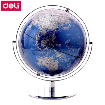 """Deli 2162# 25cm (10"""") Teaching Globe Stainless steel support & base English & Chinese color printing relief surface"""