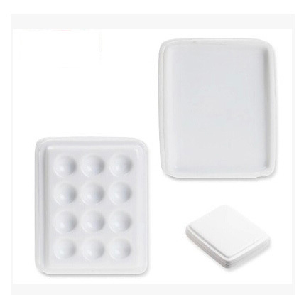 1PC with cover Dental lab equipment Porcelain Mixing Watering Moisturizing plate 12 Slot Ceramic Palette