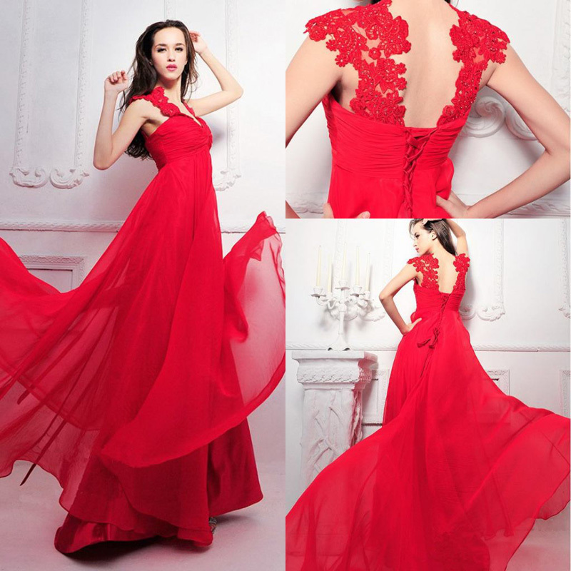New Arrival 2015 Floor Length Sexy Red Prom Dresse...