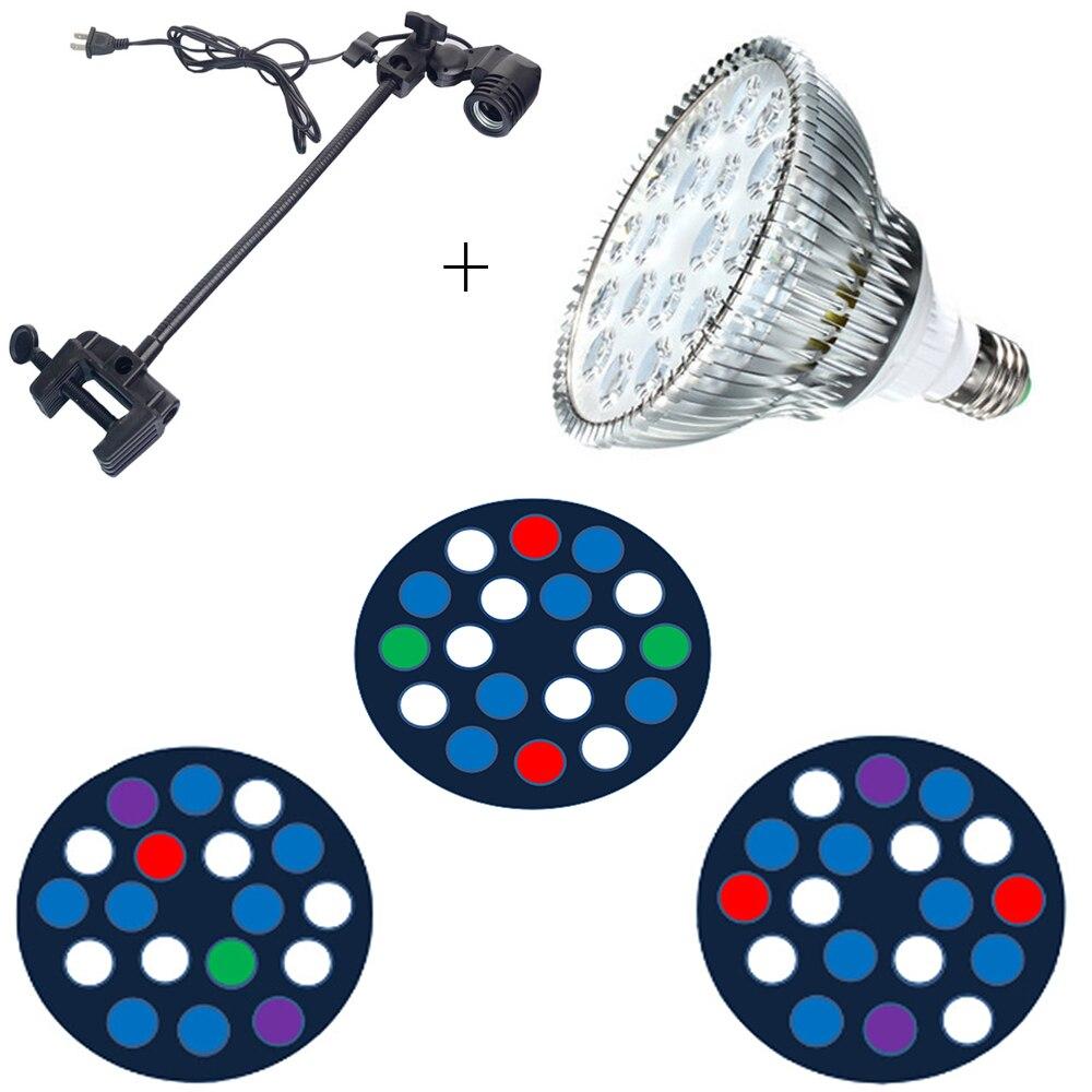 E27 54 W SMD LED Aquarium grandir éclairage 18x3 W récif de corail blanc bleu Aquarium étang LED plante grandir ampoule lampe
