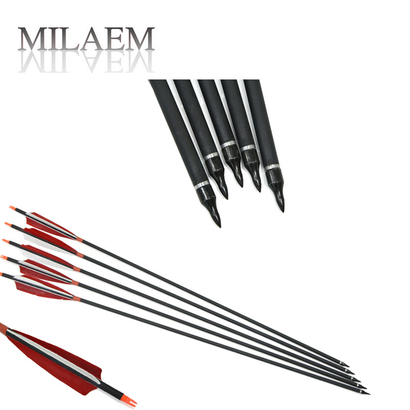 12PCS ID 6.22mm Archery Mixed Carbon Arrow Carbon Fiber Shaft Arrow with Replaceable Broadheads Archery Shooting Accessory ...