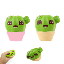 Simulation Cute Cactus Plant Slow Rebound Squishy Decompression Vent PU Toy Pinch Ball Pinch Office Toy Fun Joke Vent Plants Toy