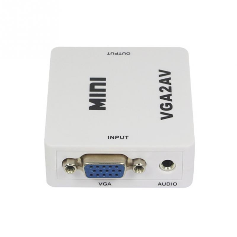 1080P Mini VGA to AV RCA Converter with 3.5mm Audio VGA2AV/CVBS+Audio Convertor for HDTV PC