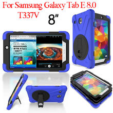 "Tablet Case For Samsung Galaxy Tab E 8.0 T377 Heavy Duty Shockproof T377V Armor Silicon PC 8"" Stand Cases Protective Back Cover"