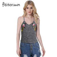 Feiterawn Summer Women Knitted Embroidery Camisole Sexy Spaghetti Strap Vest Crop Tops Camis Casual Gray Tank