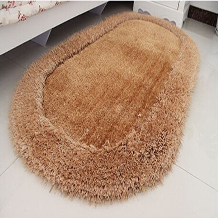 3D Cozy Shag Collection Solid Shag Rug Contemporary Living & Bedroom Soft Shaggy Area Rug Bright Silk Oval Carpet