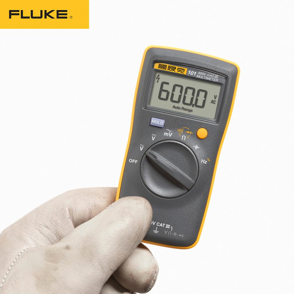 Fluke 101 Mini Digital Multimeter Auto Range For AC/DC Voltage Resistance Capacitance Frequency Duty Cycle Tester