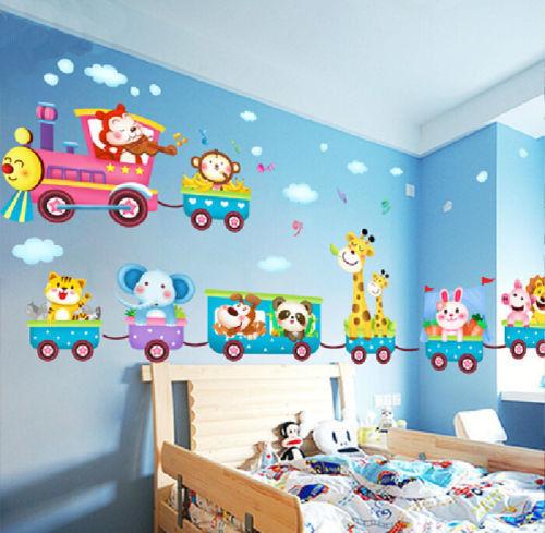 50x70 Cm Cartoon Animal 3d Wall Stickers Train Parade Kids Bedroom Wall Declas Diy Room Decor