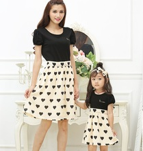 Puff Sleeve Mother Daughter Dresses Mommy and Me Clothes Family Matching Outfits Look Mom Mum and Girls Dress Clothing Summer