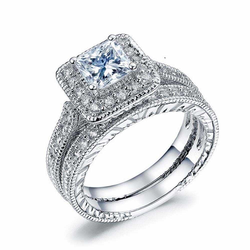 خمر الأزرق الياقوت خواتم مجموعات 2-في-1 الخطوبة الزفاف البنصر للنساء تمهيد تشيكوسلوفاكيا 10 K الأبيض مجوهرات مطلية بالذهب حجم 5-10