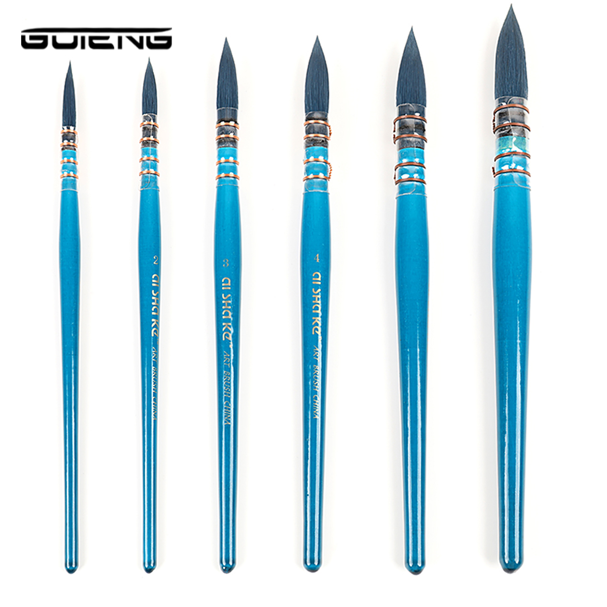 Blue Wooden Writing Brush For Artist Watercolor Paint Brush French Style Pointed Painting Brushes For Watercolor Art Supplies