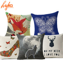 Hyha Red Fox Cushion Cover Cotton Linen Letter Cartoon Tree Deer Wolf High Heels Home Deocrative Pillow Cover for Sofa Cojines(China)