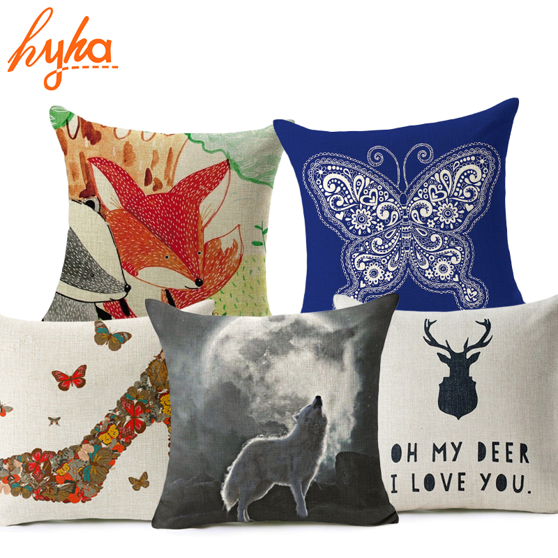 Hyha Red Fox Cushion Cover Cotton Linen Letter Cartoon Tree Deer Wolf High Heels Home Deocrative Pillow Cover for Sofa Cojines