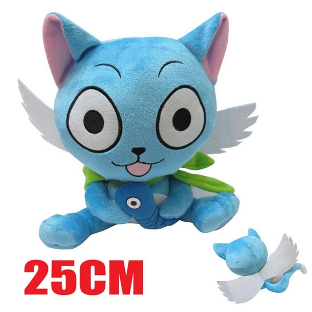 10 25cm Japanese Anime Fairy Tail Happy Plush Toy Blue Cat Soft Stuffed Animal