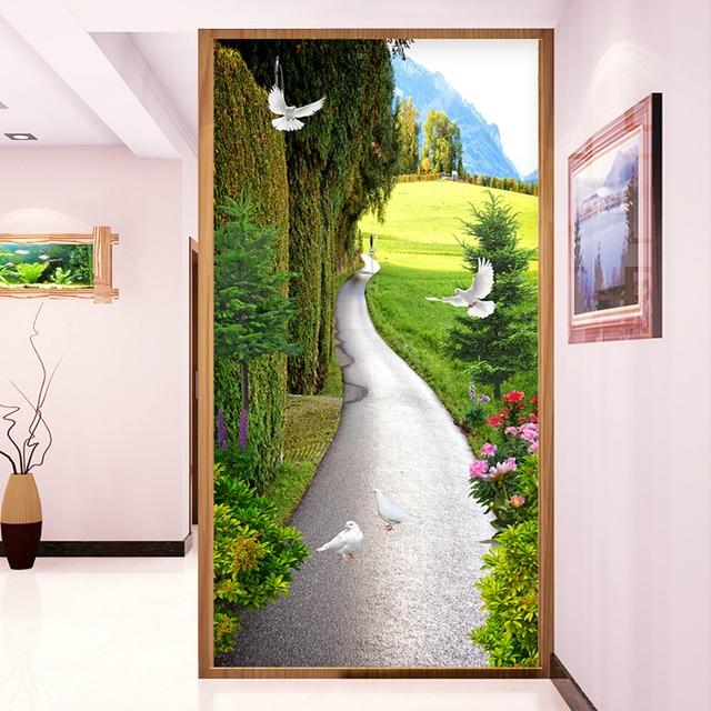 US $9 36 44% OFF|Custom Wallpaper Murals 3D Landscape Small Road Living  Room Entrance Hallway 3D Embossed Photo Mural Wallpaper Papel De Parede-in