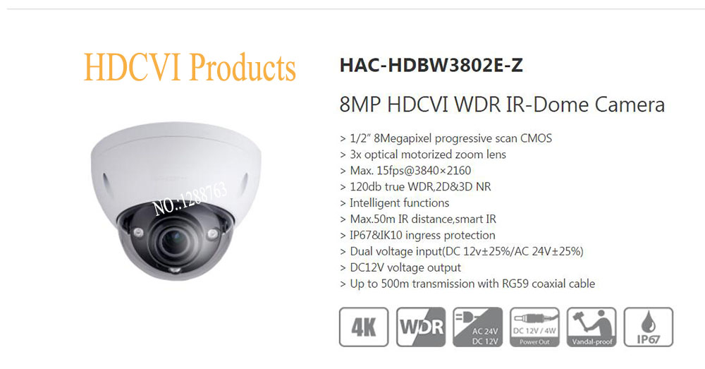 Free Shipping DAHUA CCTV Security Camera 8MP HDCVI WDR IR-Dome Camera IP67 IK10 without Logo HAC-HDBW3802E-Z dahua security system ip camera cmos cctv 1 3mp hd 720p wdr hdcvi box camera without logo hac hf3101